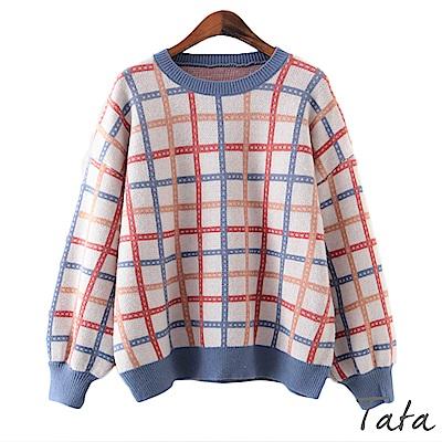條格紋燈籠袖寬鬆針織上衣 共二色 TATA