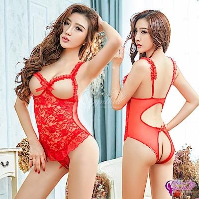 Sexy Cynthia情趣睡衣 狂野火紅露咪咪性感情趣連身衣-紅F