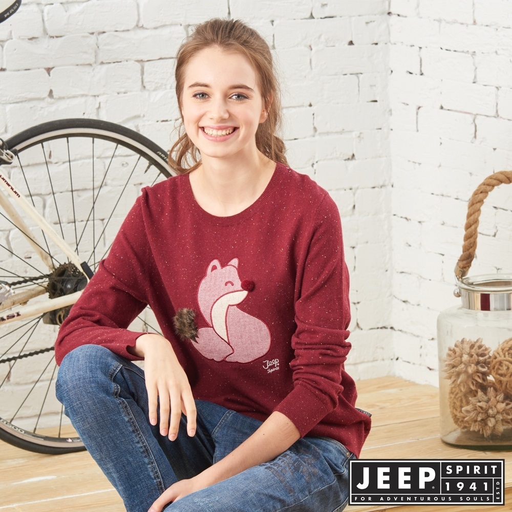 JEEP 女裝 立體狐狸圖騰長袖針織衫-紅色