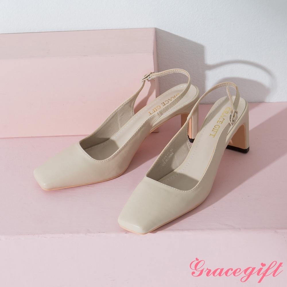 Grace gift-方頭後空高跟扁跟涼鞋 米白