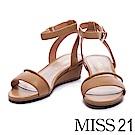 涼鞋 MISS 21 知性美感羊皮繫帶楔型涼鞋-咖