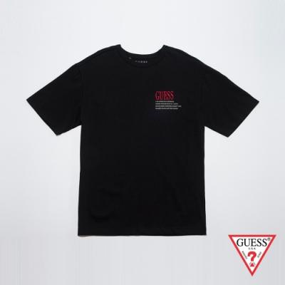 GUESS-男裝-刺繡LOGO圓領短T,T恤-黑 原價2490