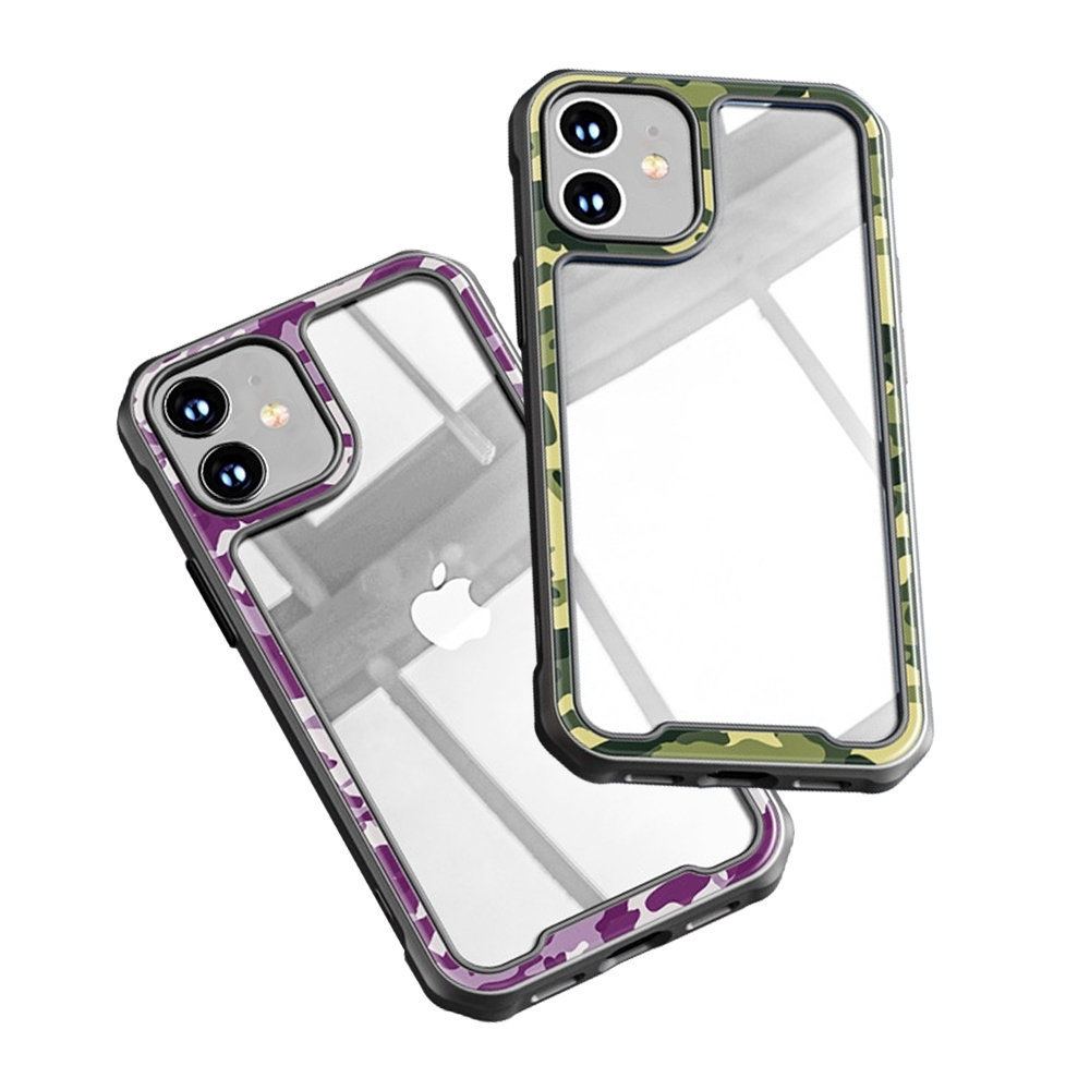 iPhone 12 迷彩 透明 壓克力 手機 保護殼 四邊 防摔 軟邊 手機殼 綠色迷彩 (iPhone12手機殼 iPhone12保護殼 )