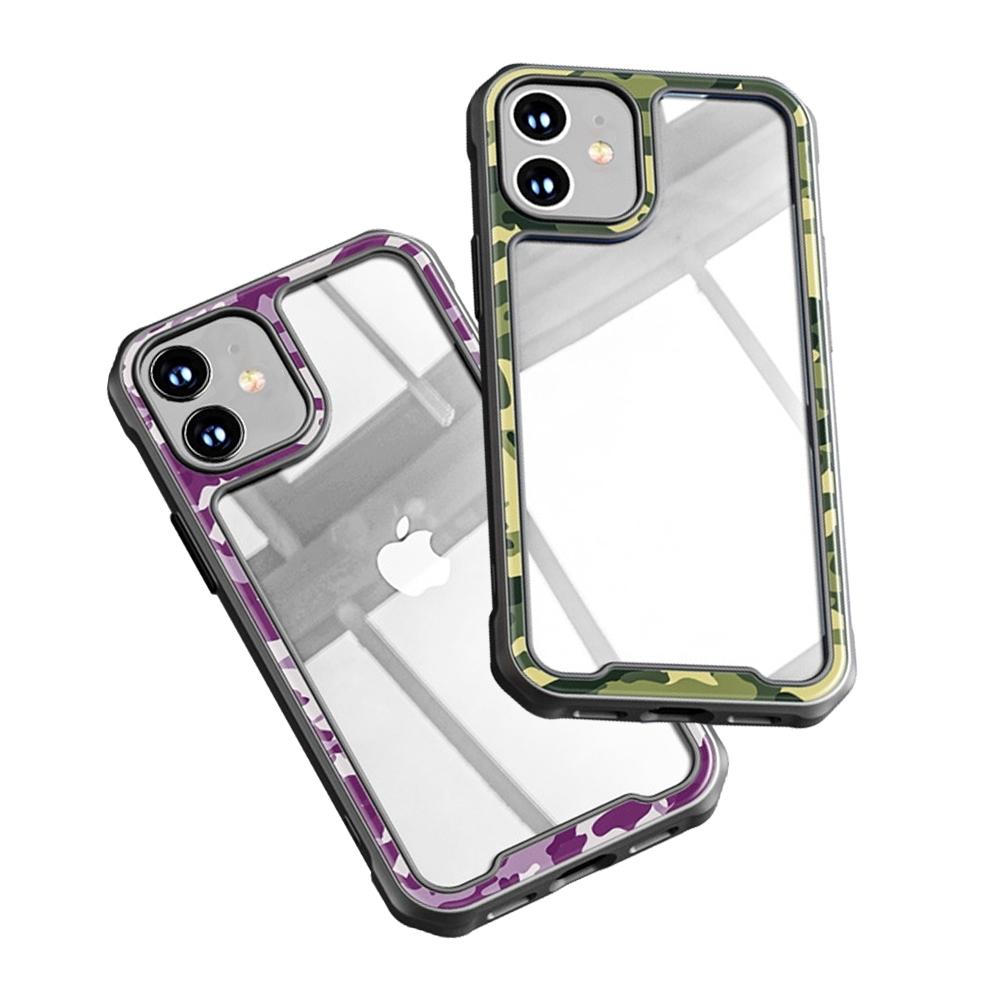 iPhone 12 mini 迷彩 透明 壓克力 手機 保護殼 四邊 防摔 軟邊 手機殼 綠色迷彩 (iPhone12mini手機殼 iPhone 12 mini保護殼 )