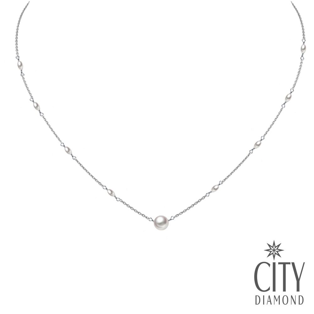 City Diamond引雅【手作設計系列 】天然珍珠米粒珠項鍊/鎖骨鍊/頸鍊