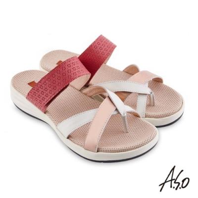 A.S.O 機能休閒 輕穩健康鞋真皮異材質休閒涼鞋-桃粉紅