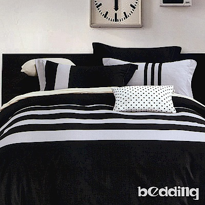 BEDDING-活性印染 特大6x7尺床包三件組-格律-黑