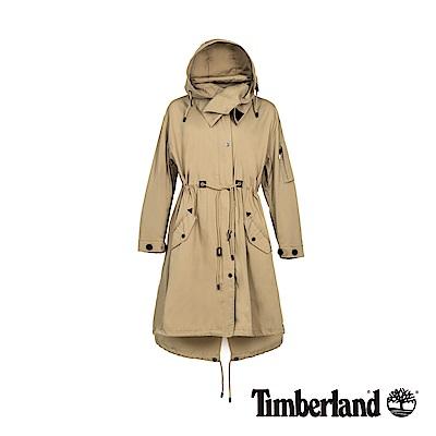 Timberland 女款卡其色軍裝可拆式連帽派克大衣|B3104
