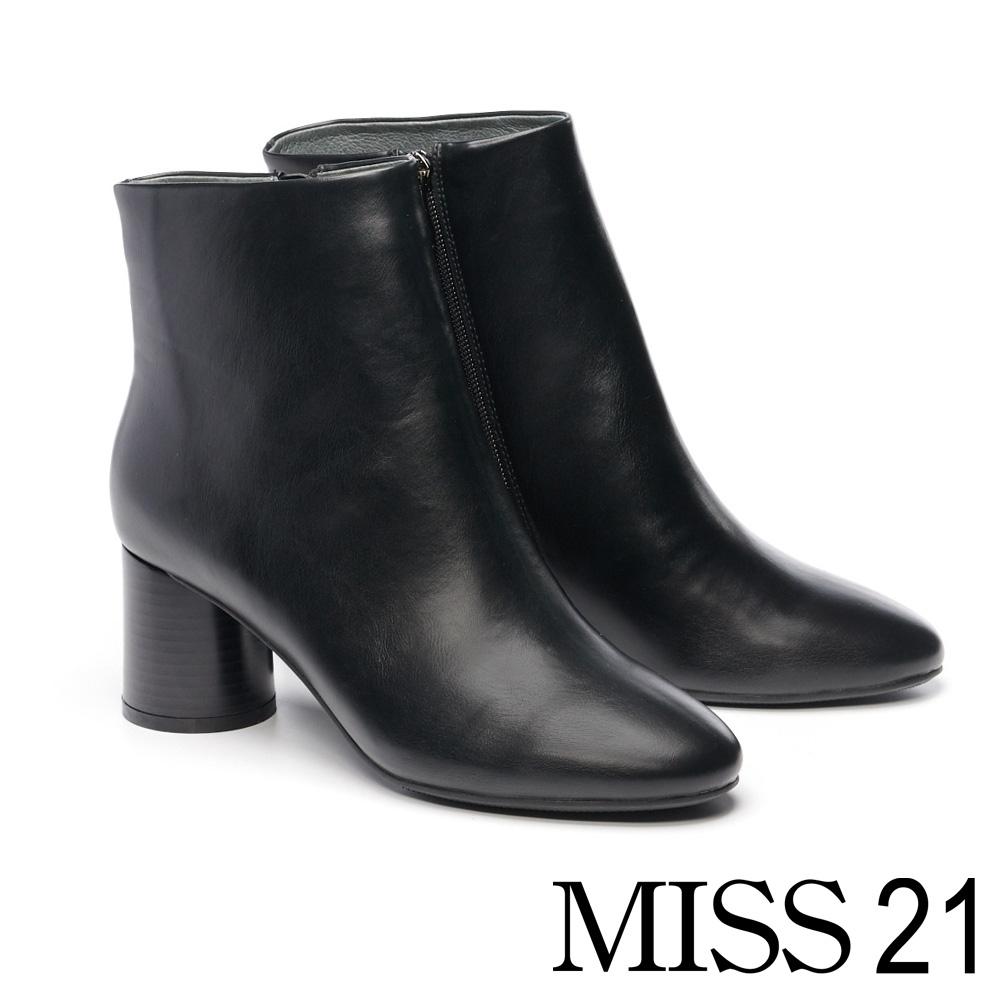 短靴 MISS 21 簡約率性俐落微尖頭粗高跟短靴-黑