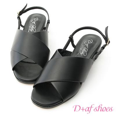 D+AF 率性好感.寬版交叉方頭低跟涼鞋*黑
