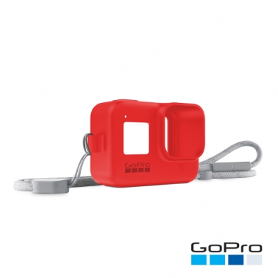 GoPro-HERO8 Black專用矽膠護套+繫繩-爆竹紅AJSST-008