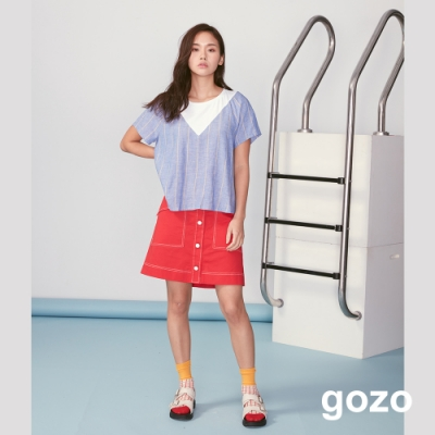 gozo 海洋風系列V字拼接上衣(深藍)