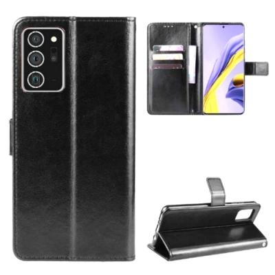 PKG 三星Galaxy Note20 側翻式皮套經典皮革-黑