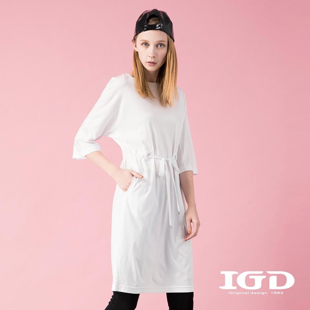 【IGD 英格麗】純棉休閒簡約收腰洋裝-白