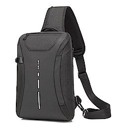 USB充電防盜胸包/單肩包/斜背包(黑)