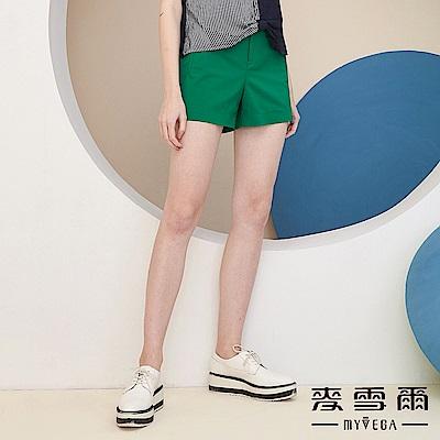 【麥雪爾】棉質綠色時髦修身短褲
