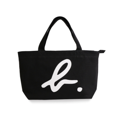 agnes b. Voyage 小型b logo棉質手提袋(黑)