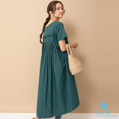earth music 背後打摺層次設計純棉洋裝
