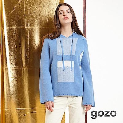 gozo 幾何圖形抽繩連帽針織上衣(二色)