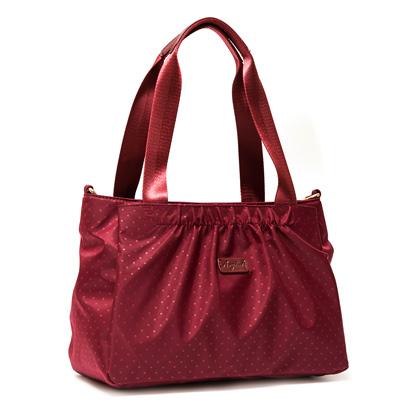 ANGIMI SHOP 肩背斜背包悠閒點點三層收納 紅色