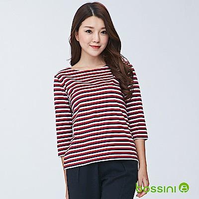 bossini女裝-圓領七分袖條紋上衣02暗紅