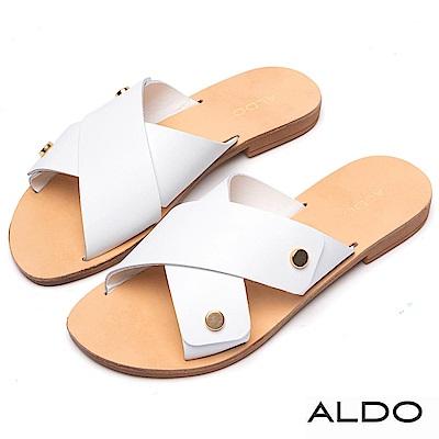 ALDO 原色牛皮佐金屬寬版交叉露趾涼拖鞋~氣質白色