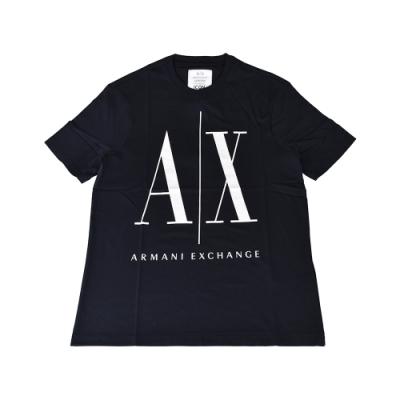A│X Armani Exchange經典壓印字母LOGO造型純棉短袖T恤(XS/S/M/L/深藍x白字)
