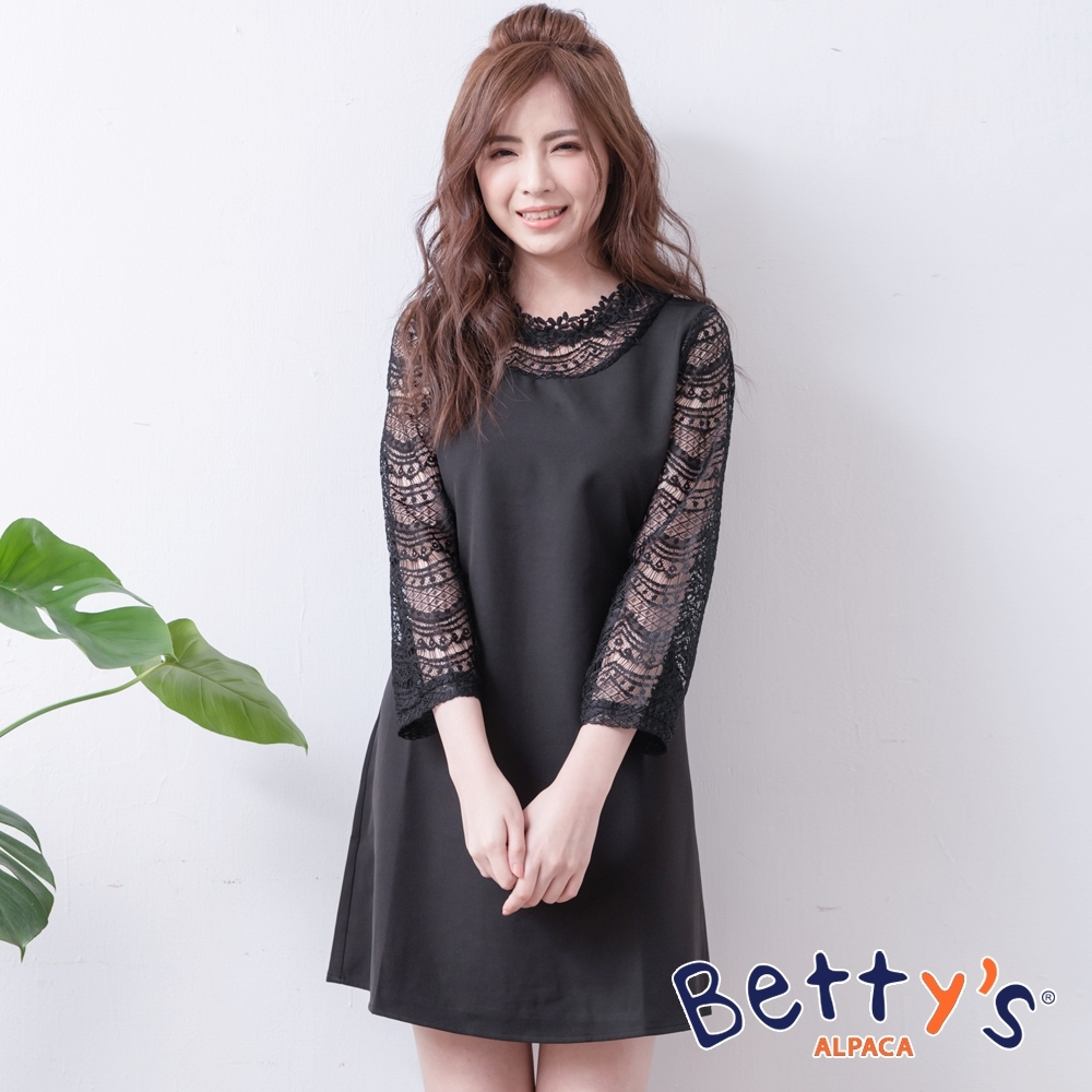 betty's貝蒂思 公主領口袖身蕾絲簍空洋裝(黑色)