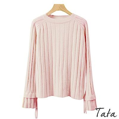 雙層袖綁帶針織上衣 共三色 TATA