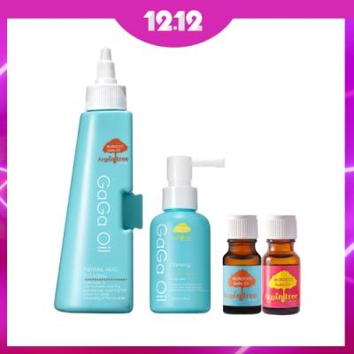 GaGa 量身訂做活化髮根胜肽養髮液100ml+軟化角質頭皮潔淨液200ml+小髮油2入