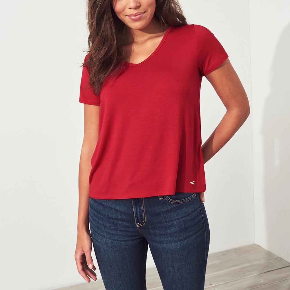 海鷗 Hollister HCO 經典刺繡海鷗V領素面短袖T恤(女)-紅色