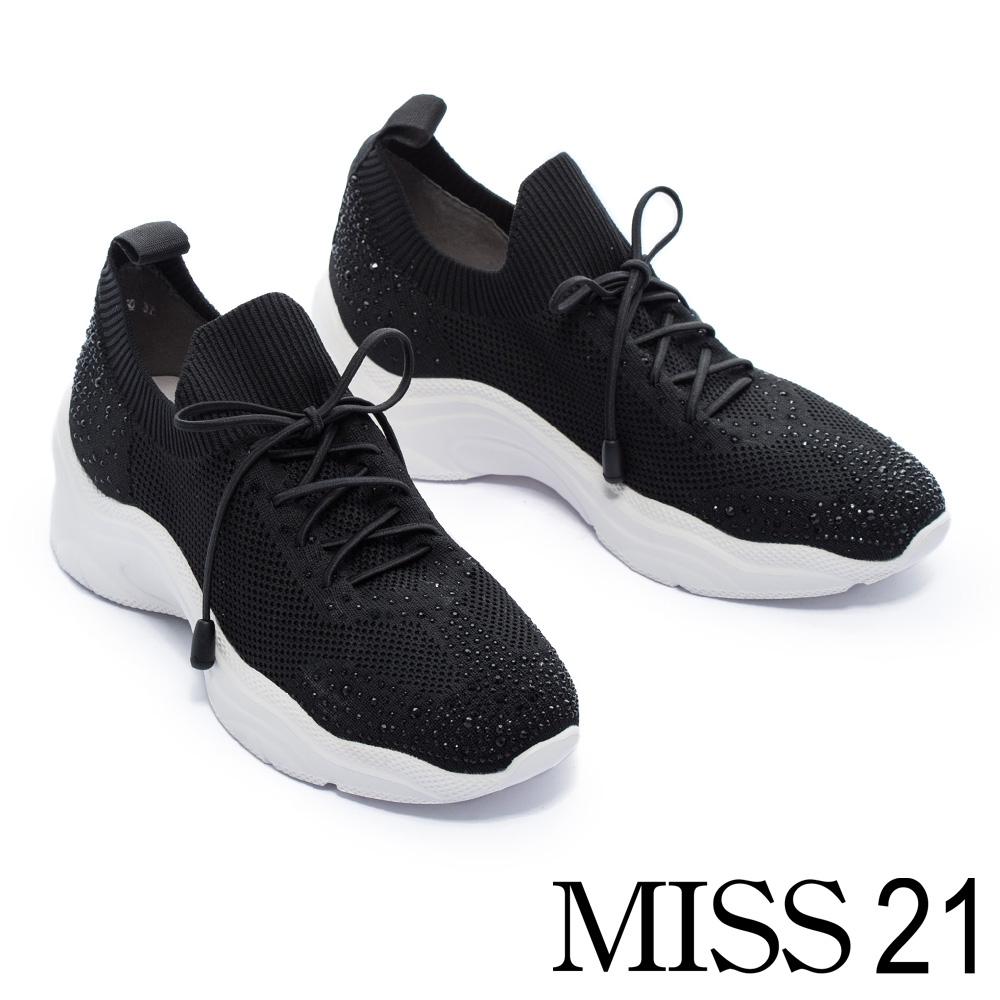 休閒鞋 MISS 21 細膩水鑽光澤飛織布老爹綁帶厚底休閒鞋-黑