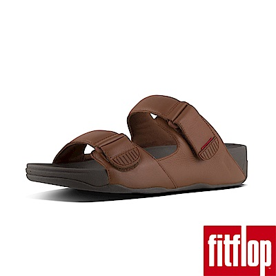FitFlop GOGH MOC LEATHER SLIDES-深褐色