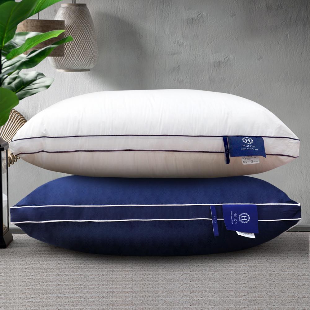 Hilton 希爾頓 五星級純棉立體銀離子抑菌獨立筒枕 2入
