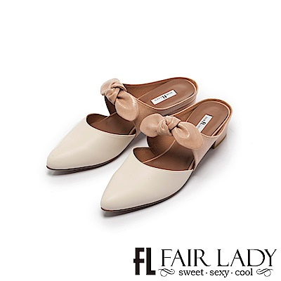 Fair Lady Hi spring-俏麗蝴蝶結撞色粗跟鞋 米