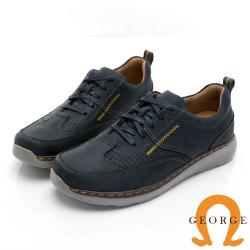 GEORGE 喬治皮鞋 超輕系列 麂皮綁帶舒適厚底氣墊鞋-藍色