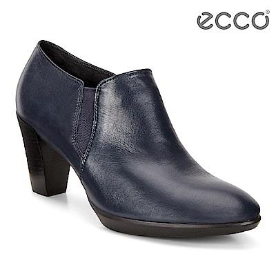 ECCO SHAPE 55 PLATEAU 簡約尖頭高跟腳踝靴 女-藍