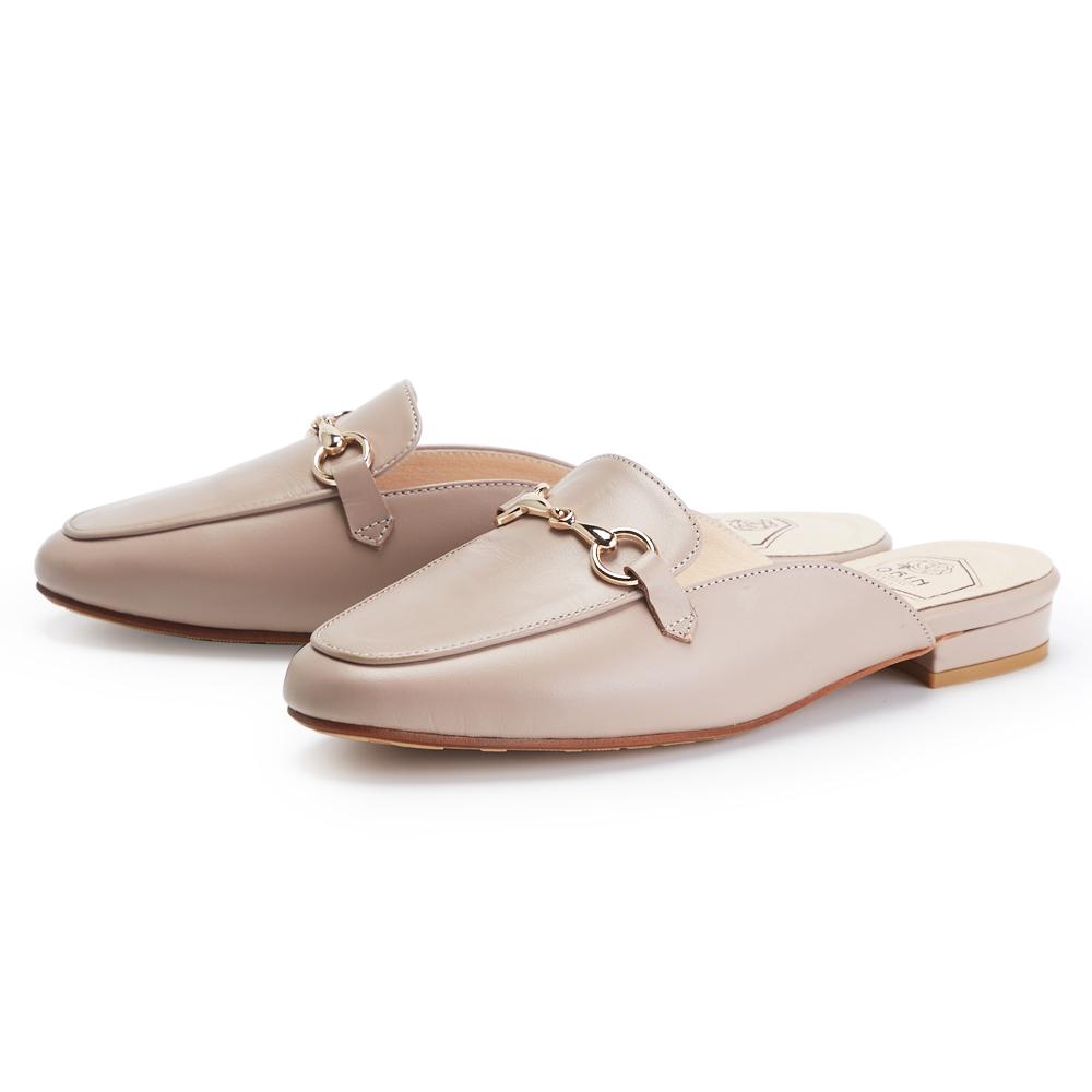 ORIN 氣質馬蹄釦真皮低跟 女 穆勒鞋 藕色