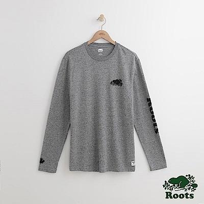 Roots 男裝-左胸海狸長袖T恤-灰色