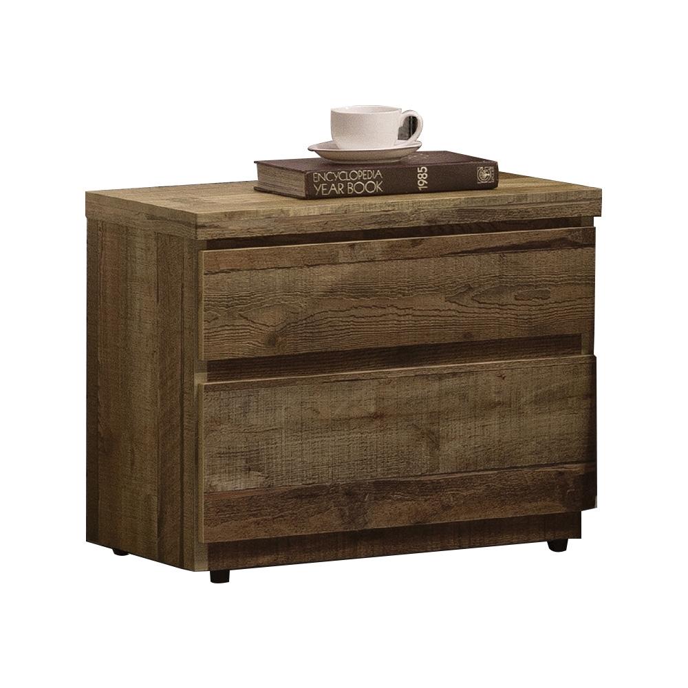 【AT HOME】美式輕工業二抽厚切木紋床頭櫃/床邊櫃/收納櫃(雀巢)