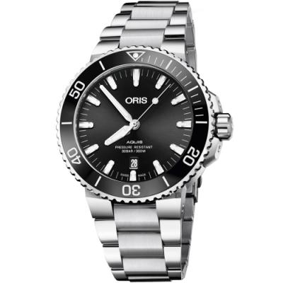 Oris 豪利時 Aquis 時間之海潛水300米日期機械錶-黑/43.5mm