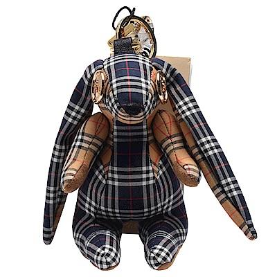 BURBERRY Thomas經典格紋兔子造型釦子裝飾眼睛鑰匙圈/吊飾(藍X米色)