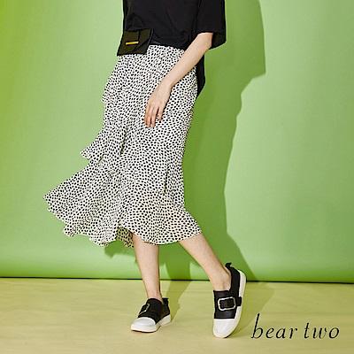 beartwo 豹紋花印荷葉層次裙(三色)