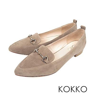 KOKKO -漫遊劍橋金屬扣尖頭平底鞋-薄霧灰