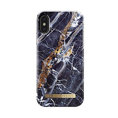 iDeal iPhone X/XS 瑞典大理石紋手機保護殼-挪威蓋倫格藍金