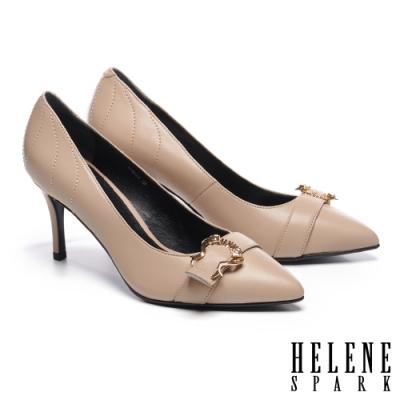 高跟鞋 HELENE SPARK 都市時尚造型飾釦羊皮尖頭高跟鞋-米