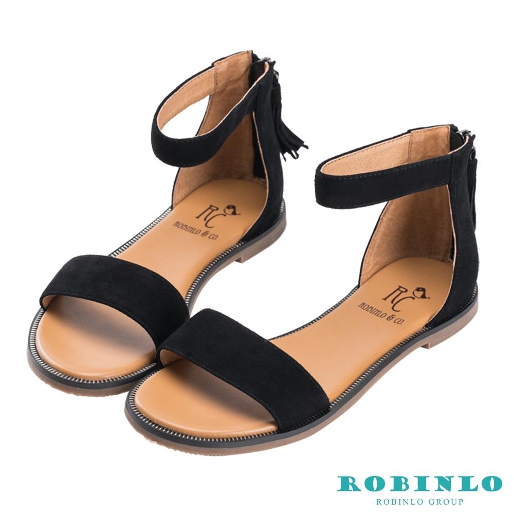 Robinlo夏日輕漾一字繫踝後拉鍊涼鞋 黑色