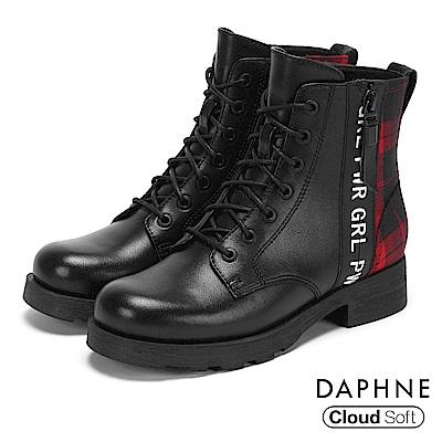達芙妮DAPHNE 短靴-異材質拼接字母標語綁帶短靴-紅