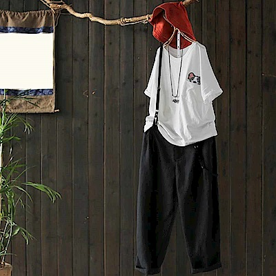 文藝時尚亞麻吊帶哈倫棉麻九分褲-設計所在