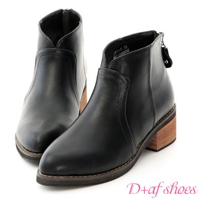 D+AF 名品指標.V口剪裁後拉鍊尖頭短靴*黑